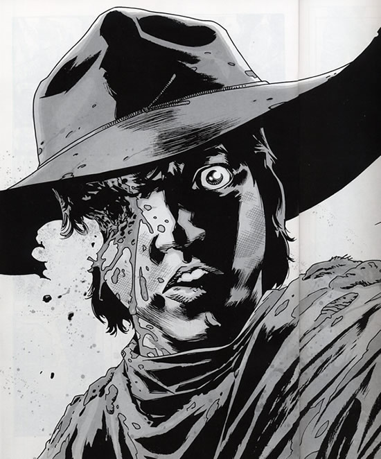 Carl gets shot in the face - Walking Dead #83