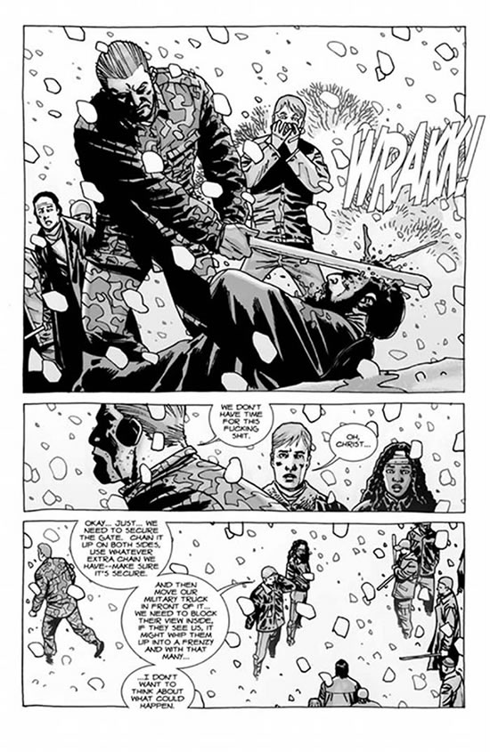 Abraham kills Bruce before he becomes a zombie - Walking Dead #80