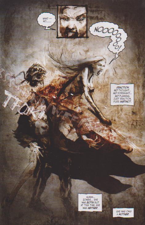 Donna kills King Zombie. Deadworld: War of the Dead #5