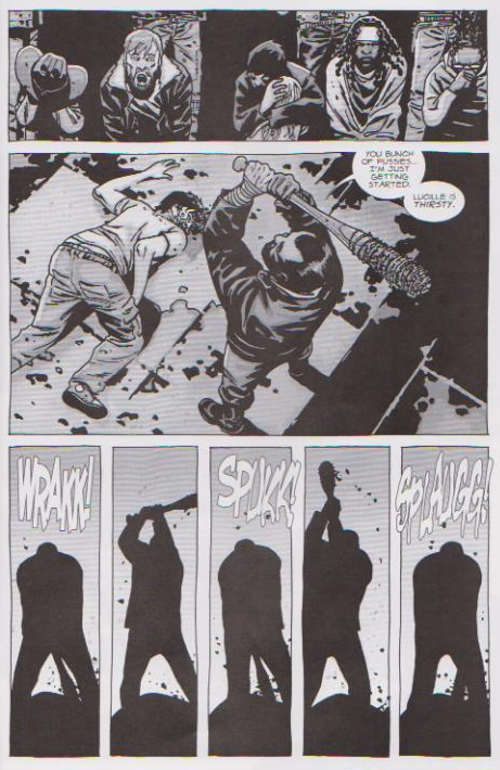 Negan kills Glenn with a baseball bat wrapped in barbed wire. - The Walking Dead #100