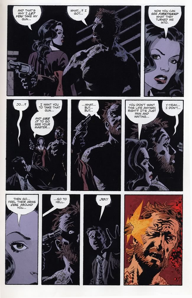 Jo forces a man to blow out his brains. - Fatale #3