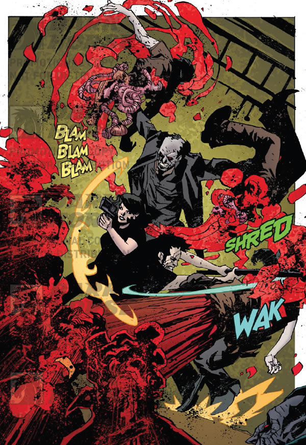 Mo-Lock rips apart a vampire. Criminal Macabre/30 Days of Night #2
