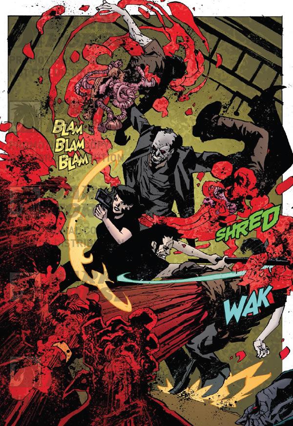 Mo-Lock rips apart a vampire. Criminal Macabre/30 Days of Night #2