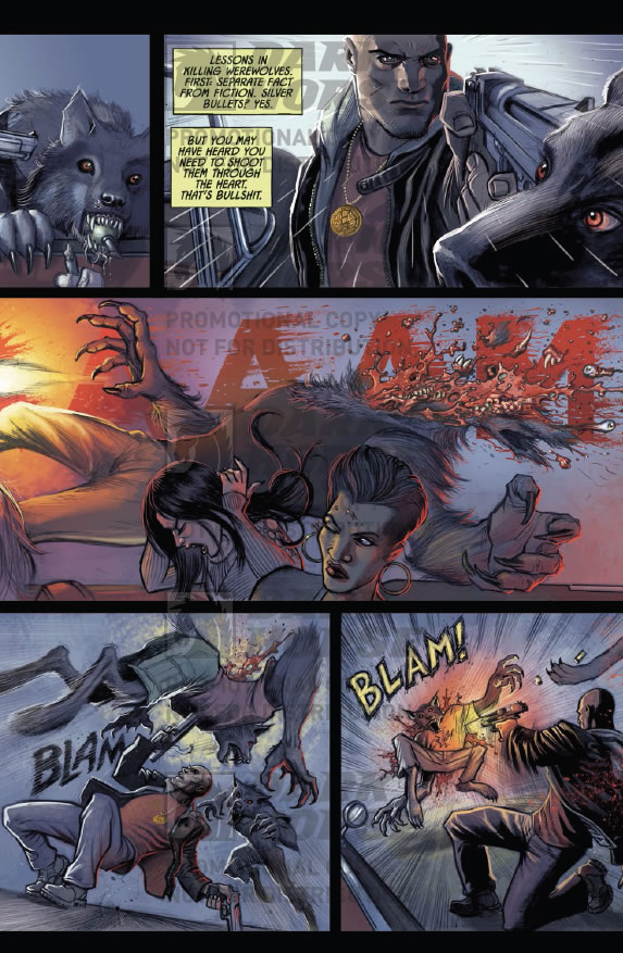A werewolf gets his face blown off. Kiss Me Satan #1