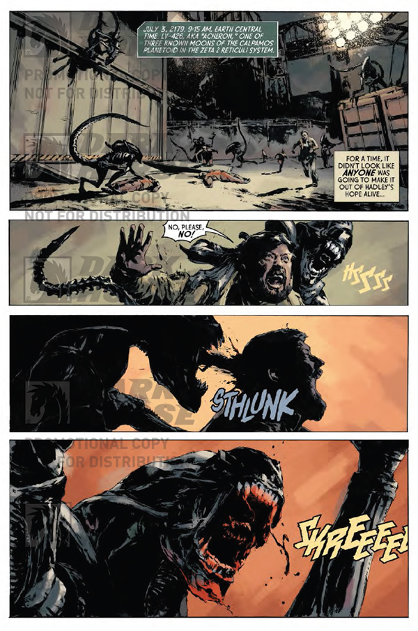 A xenomorph attacks. - Aliens: Fire and Stone #1